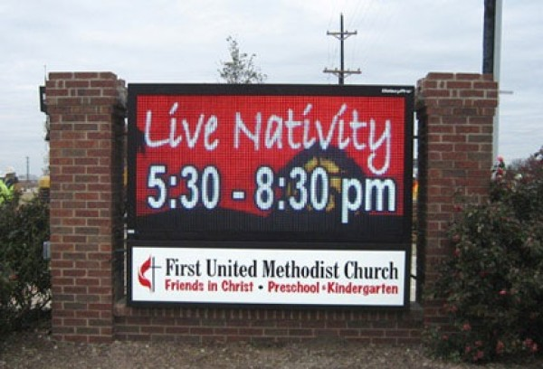 Church Sign with Screen