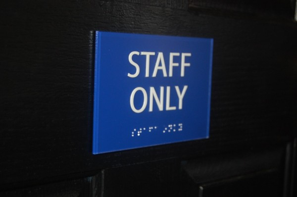 Staff Only ADA and Braille Sign